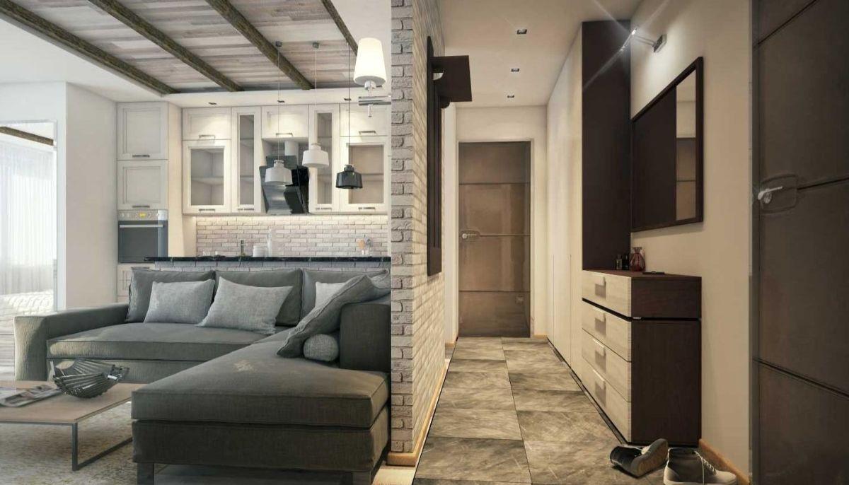 интерьер маленькой квартиры студии с элементами лофта