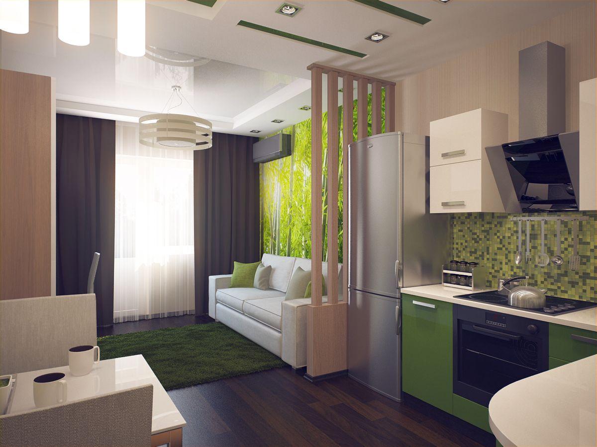интерьер маленькой квартиры студии сочетание зелёного и коричневого оттенков