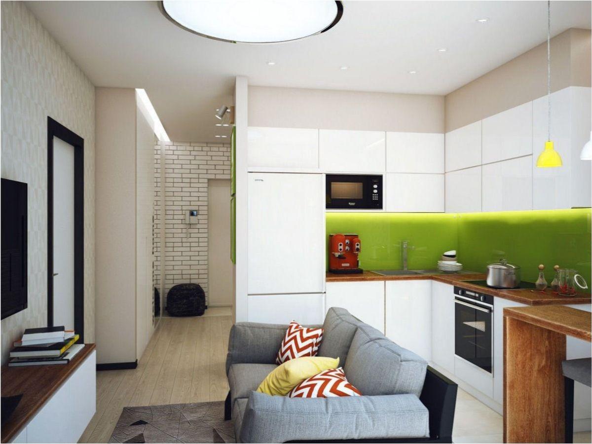 интерьер маленькой квартиры студии светлый дизайн с салатовыми акцентами