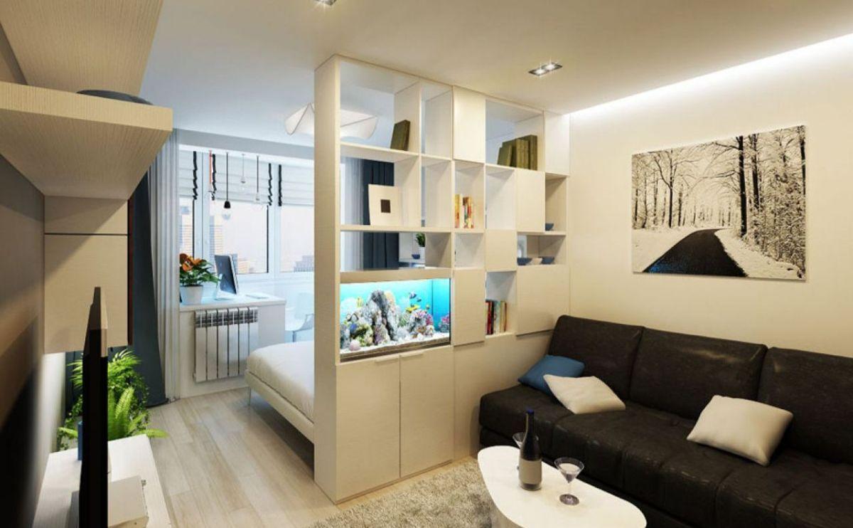 интерьер маленькой квартиры студии зонирование книжной полкой