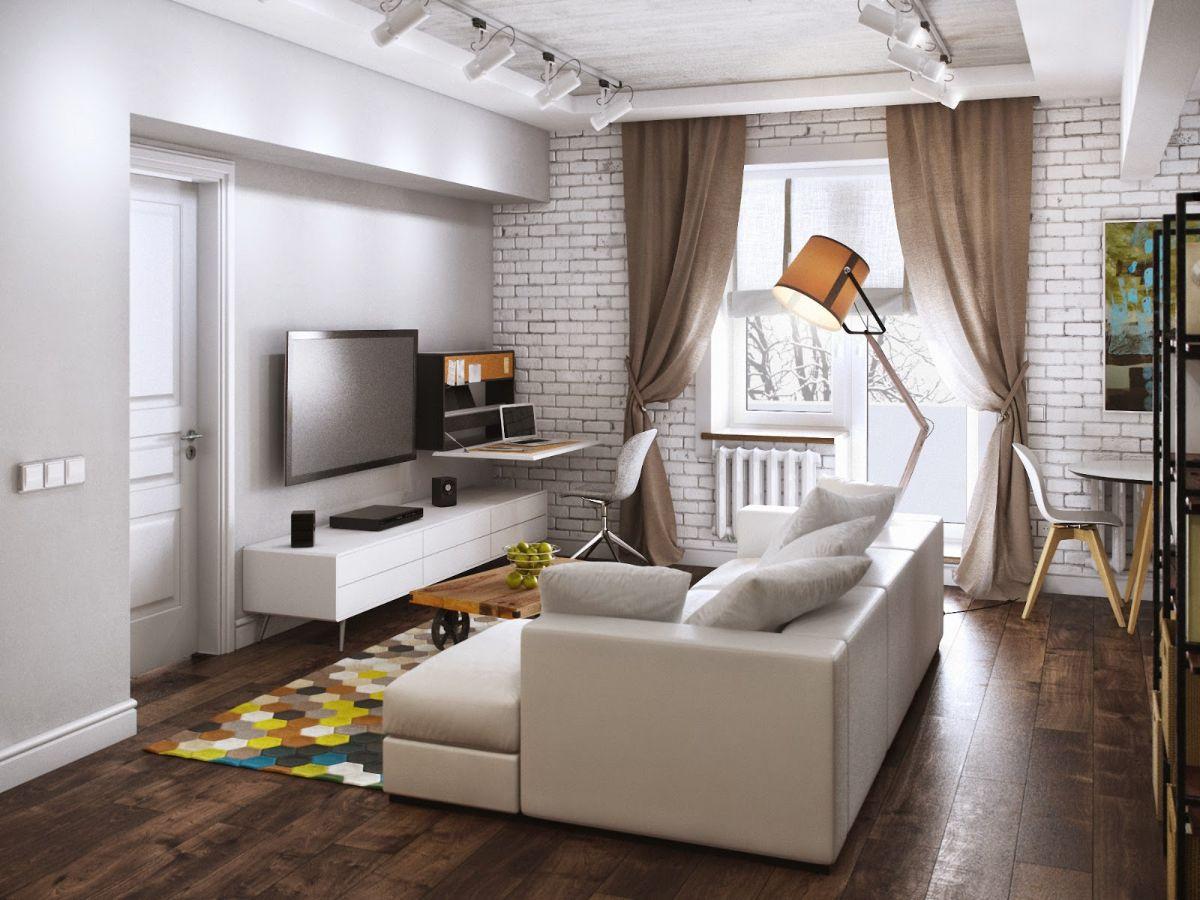 интерьер маленькой квартиры в лофтовом дизайне