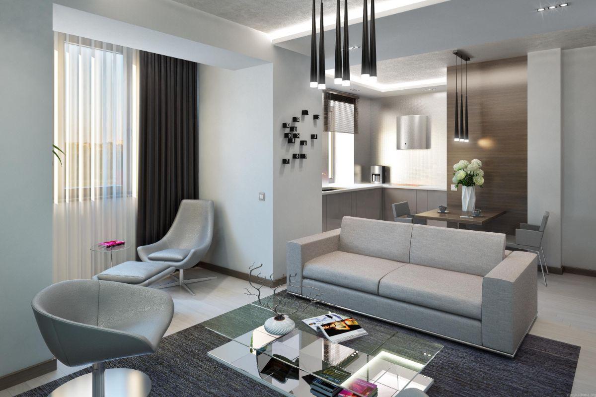 интерьер маленькой квартиры в серых тонах