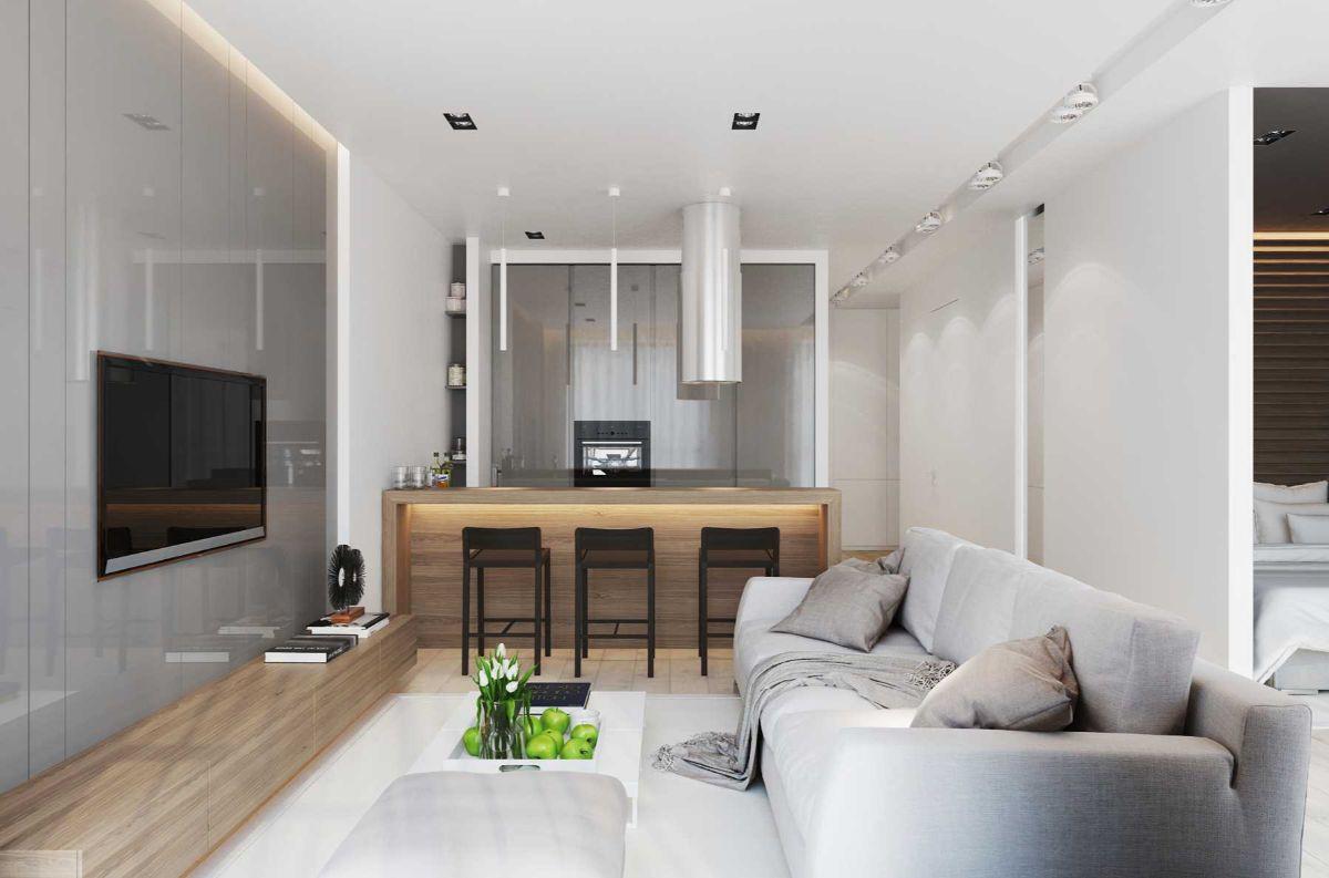 интерьер маленькой квартиры в стиле минимализм
