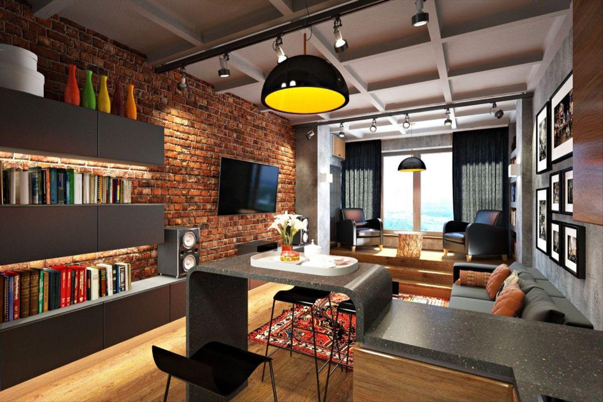 кирпичная стена в дизайне квартиры в стиле лофт