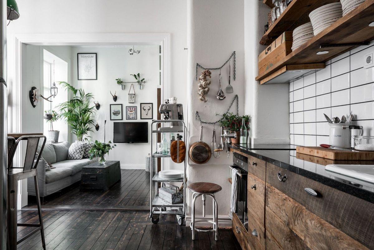 кухня гостиная брутальный дизайн интерьера