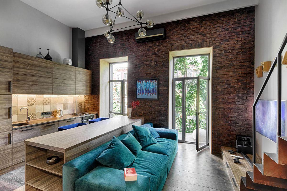 кухня-гостиная дизайн интерьер в загородном доме