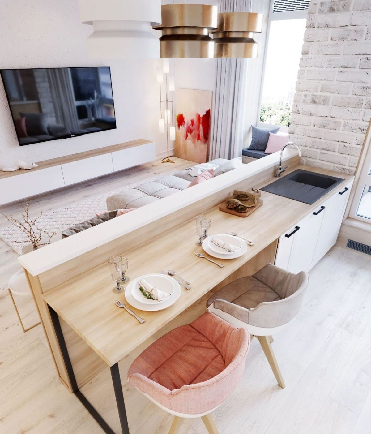 кухня гостиная дизайн интерьера пример зонирования
