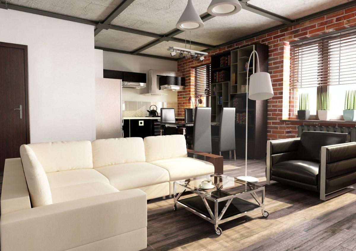 кухня гостиная дизайн интерьера с элементами лофта