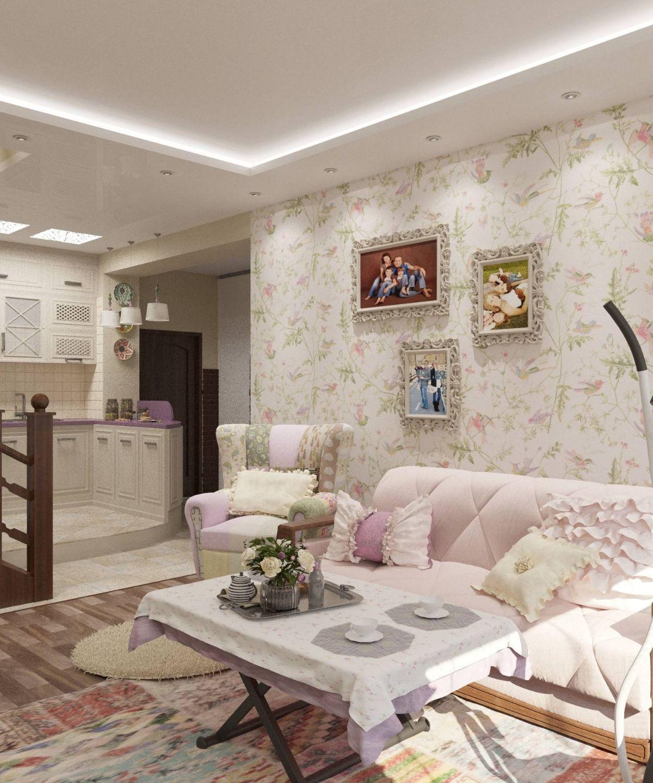 кухня гостиная дизайн интерьера с элементами прованса