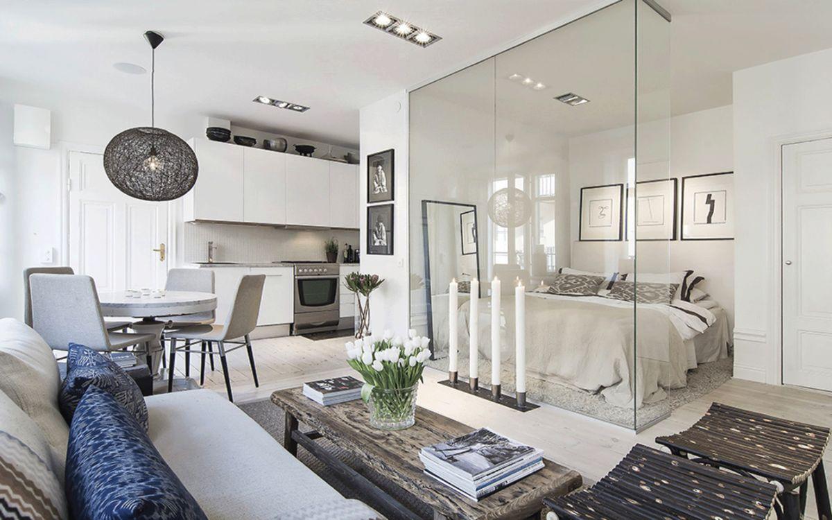 кухня гостиная дизайн интерьера в квартире в белом цветовом решении