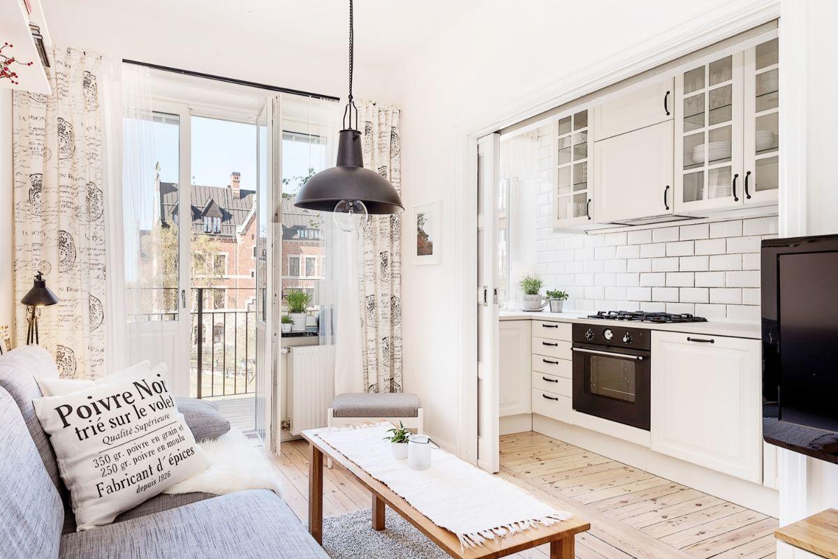 кухня гостиная дизайн интерьера в маленькой квартире