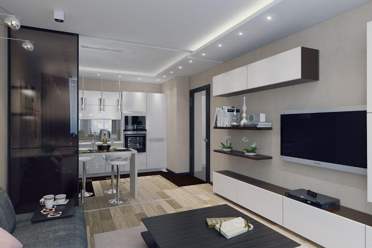 кухня гостиная фото дизайна интерьера с немной прозрачной перегородкой
