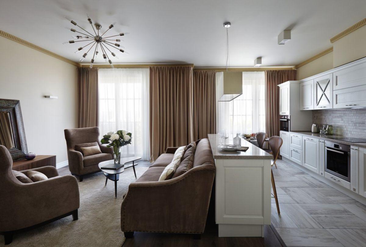 кухня гостиная фото дизайна интерьера в стиле модерн