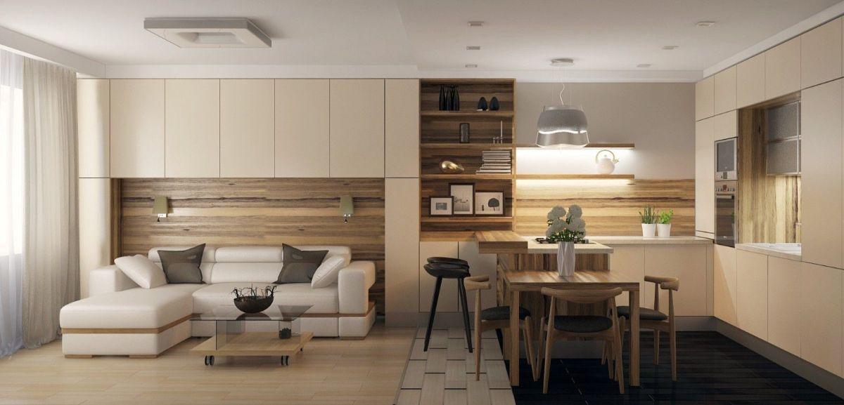 кухня гостиная фото лаконичного дизайна интерьера
