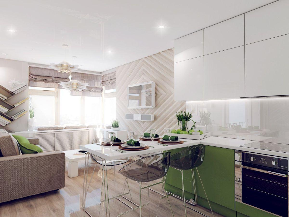 кухня гостиная фото современного дизайна интерьера