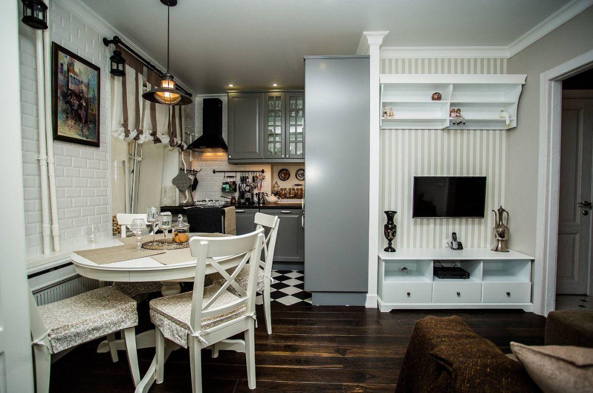 кухня гостиная интереный дизайн интерьера в небольшой квартире