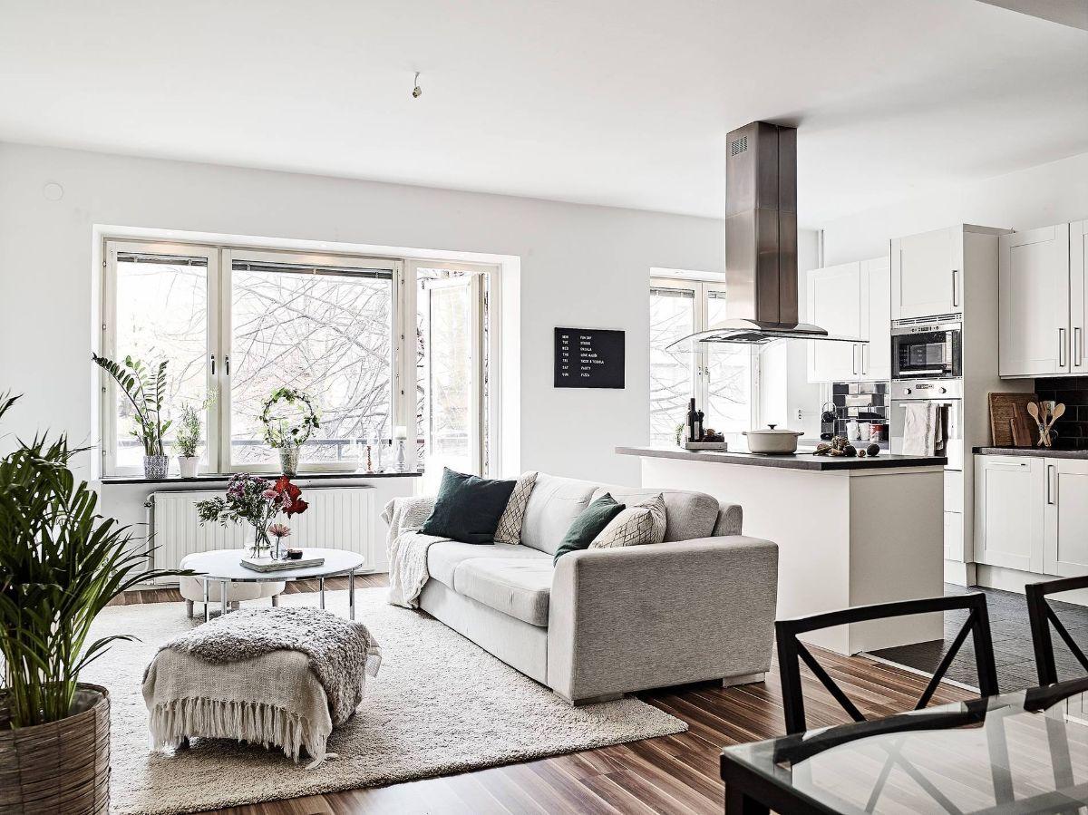 кухня гостиная интересный светлый дизайн интерьера