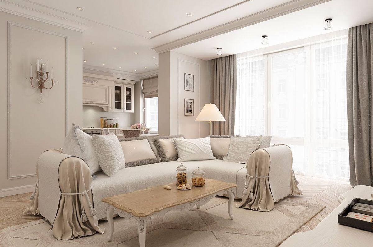 кухня гостиная классический дизайн интерьера