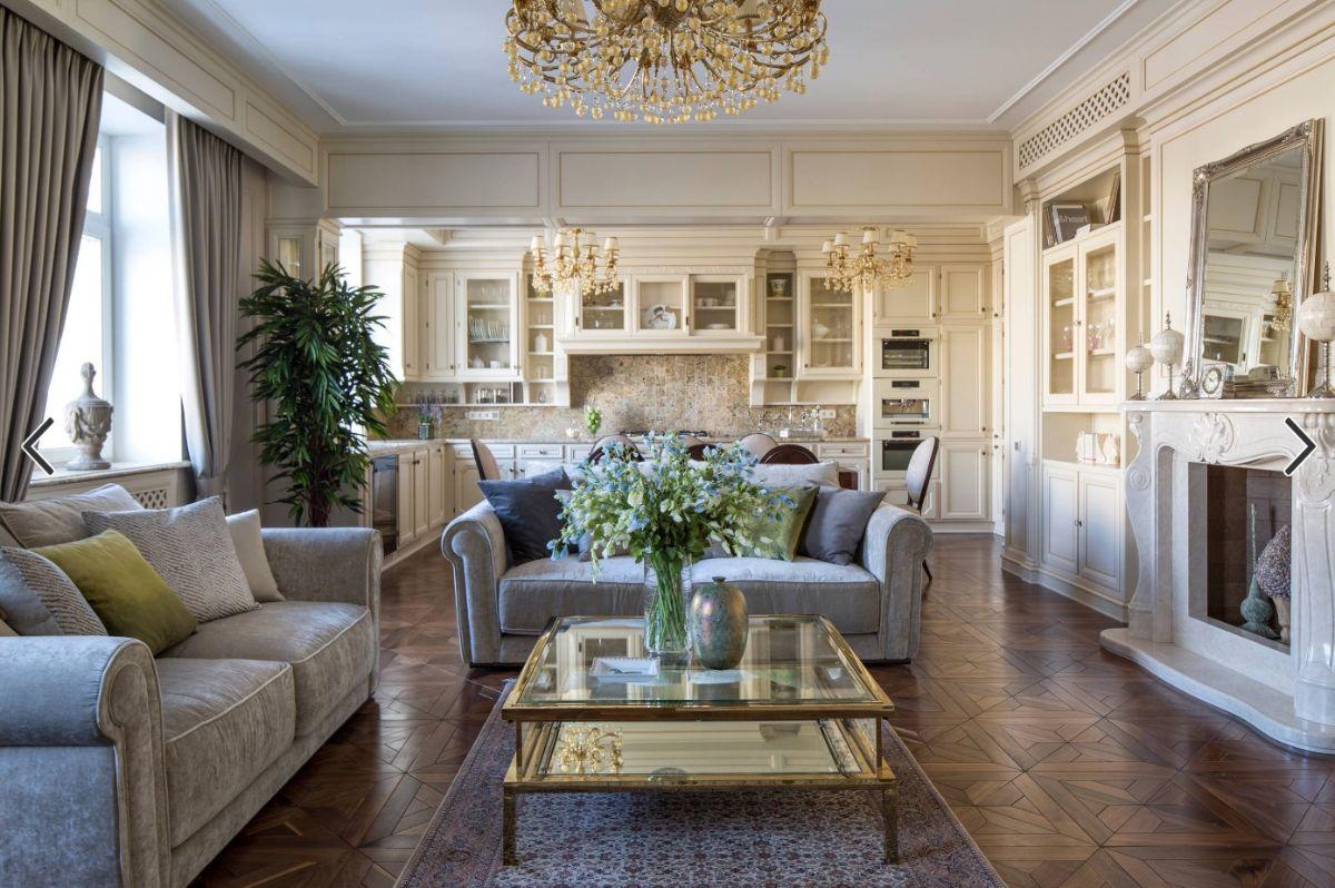 кухня гостиная классический светлый дизайн интерьера