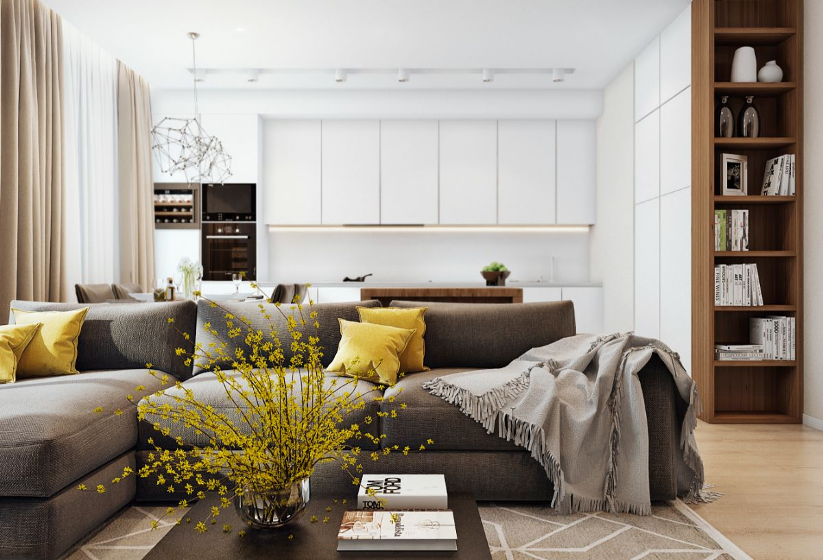 кухня гостиная красивый дизайн интерьера