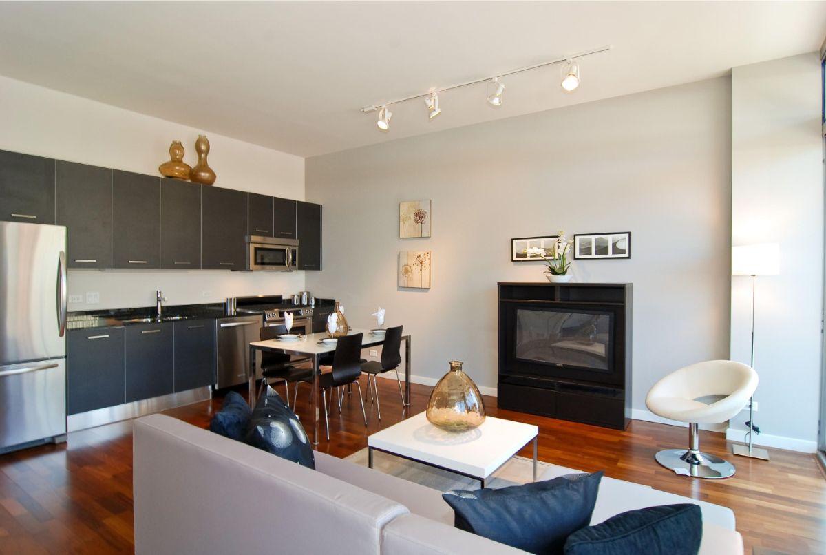 кухня гостиная минималистический дизайн интерьера