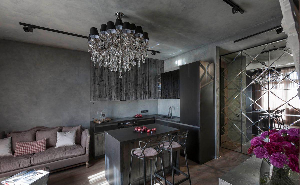 кухня гостиная необычный дизайн интерьера
