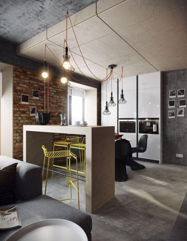 кухня гостиная пример бретального дизайна интерьера