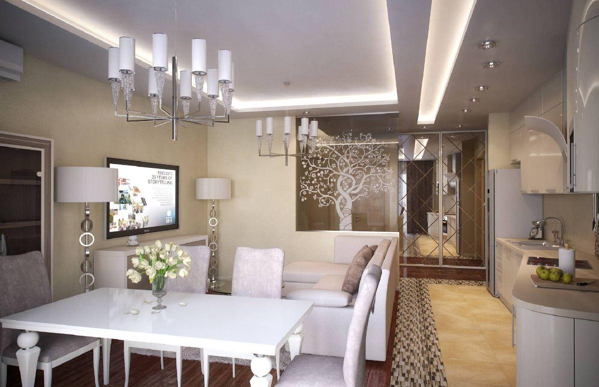 кухня гостиная пример дизайна интерьера арт деко