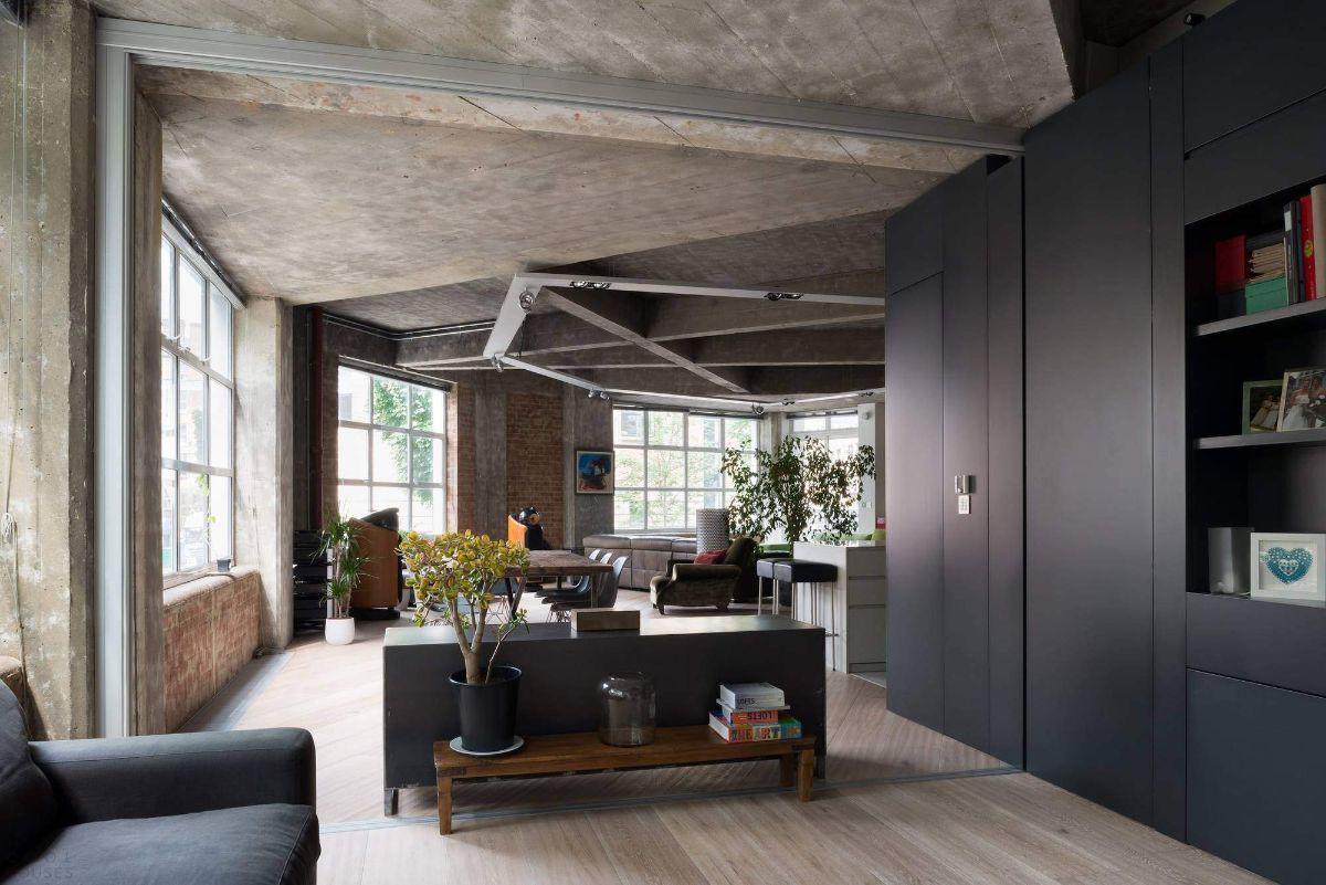 кухня гостиная пример дизайна интерьера в урбанистическом стиле