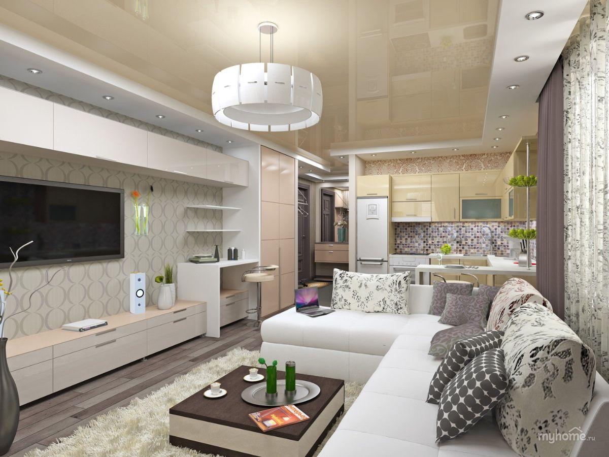 кухня гостиная пример дизайна с кремовым натяжным потолком