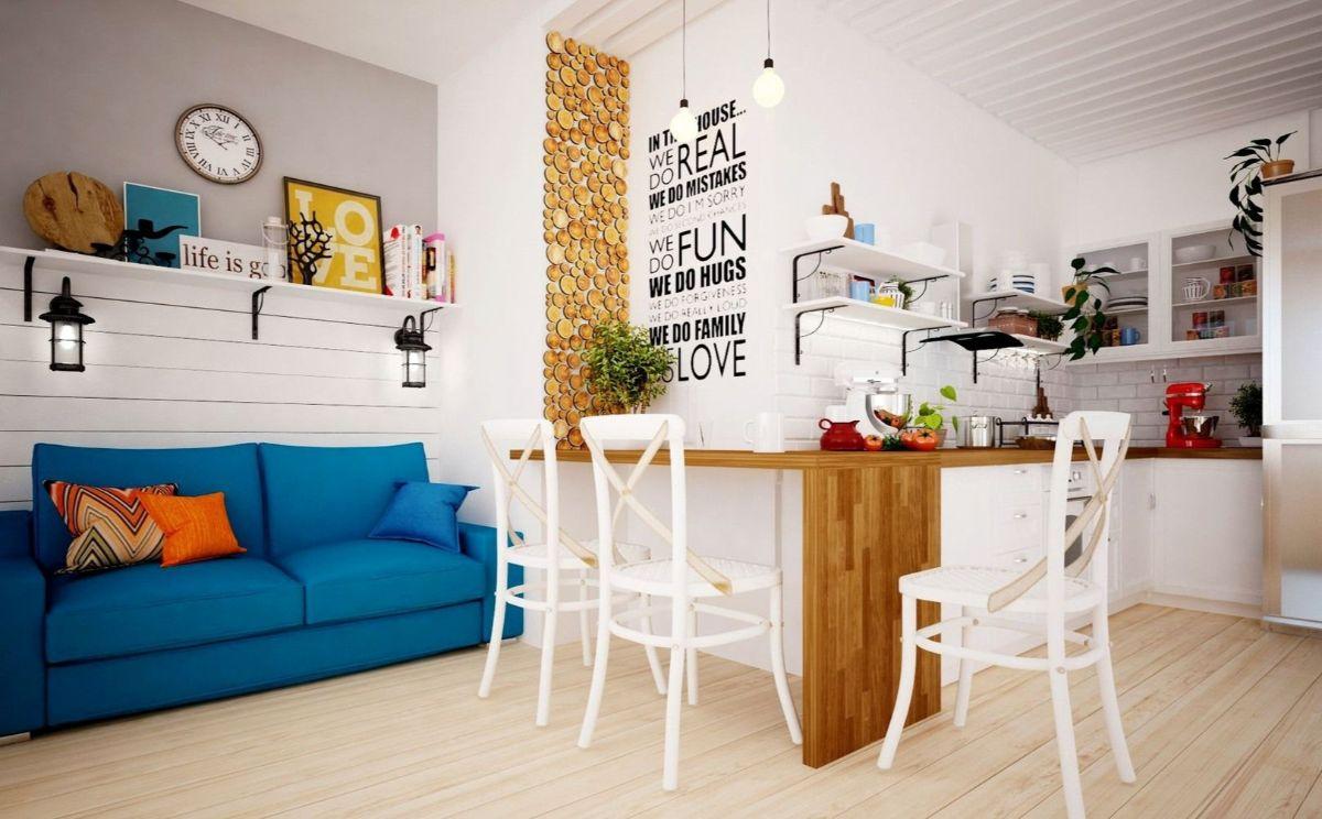 кухня гостиная пример дизайна в скандинавском стиле