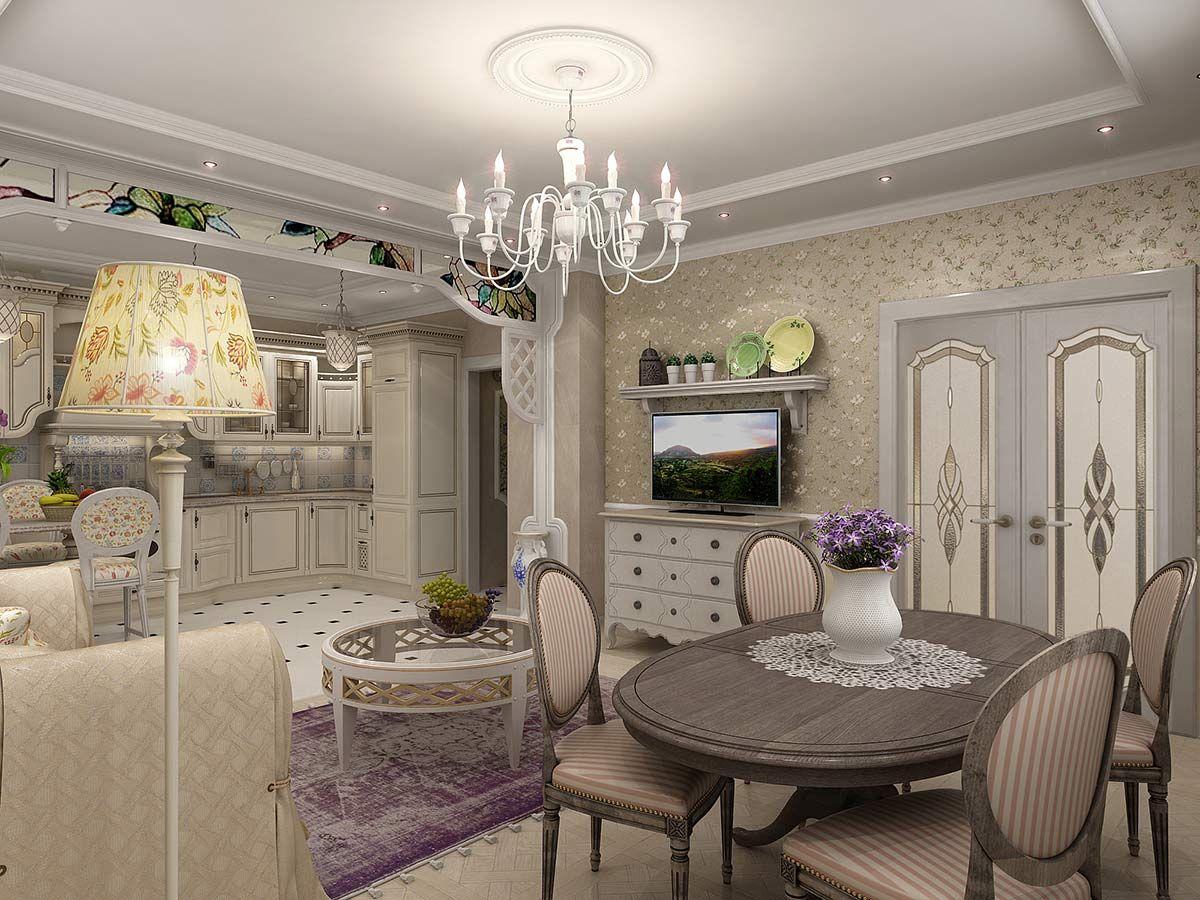кухня гостиная пример классического дизайна интерьера