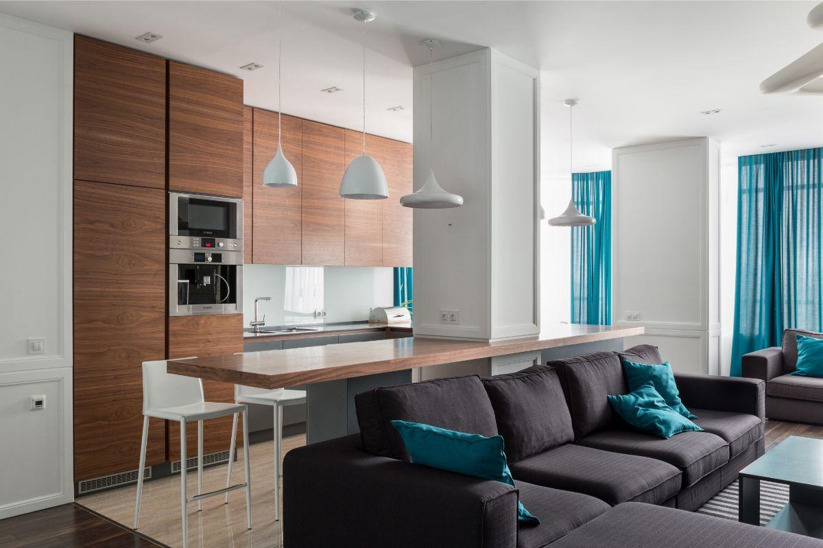 кухня гостиная пример лаконичного дизайна интерьера