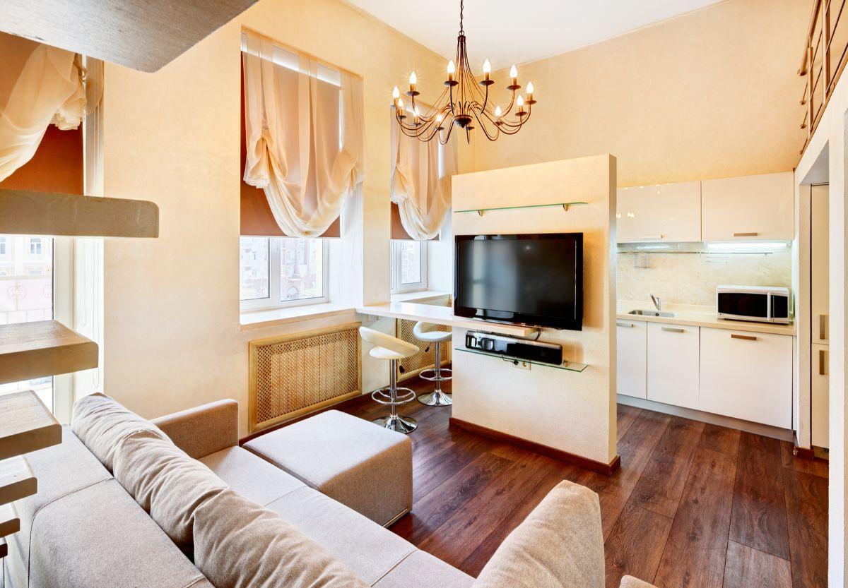 кухня гостиная пример современного дизайна интерьера