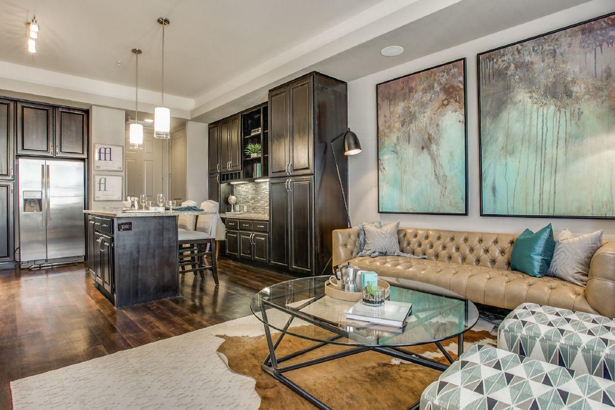 кухня гостиная сдержанный дизайн интерьера в квартире