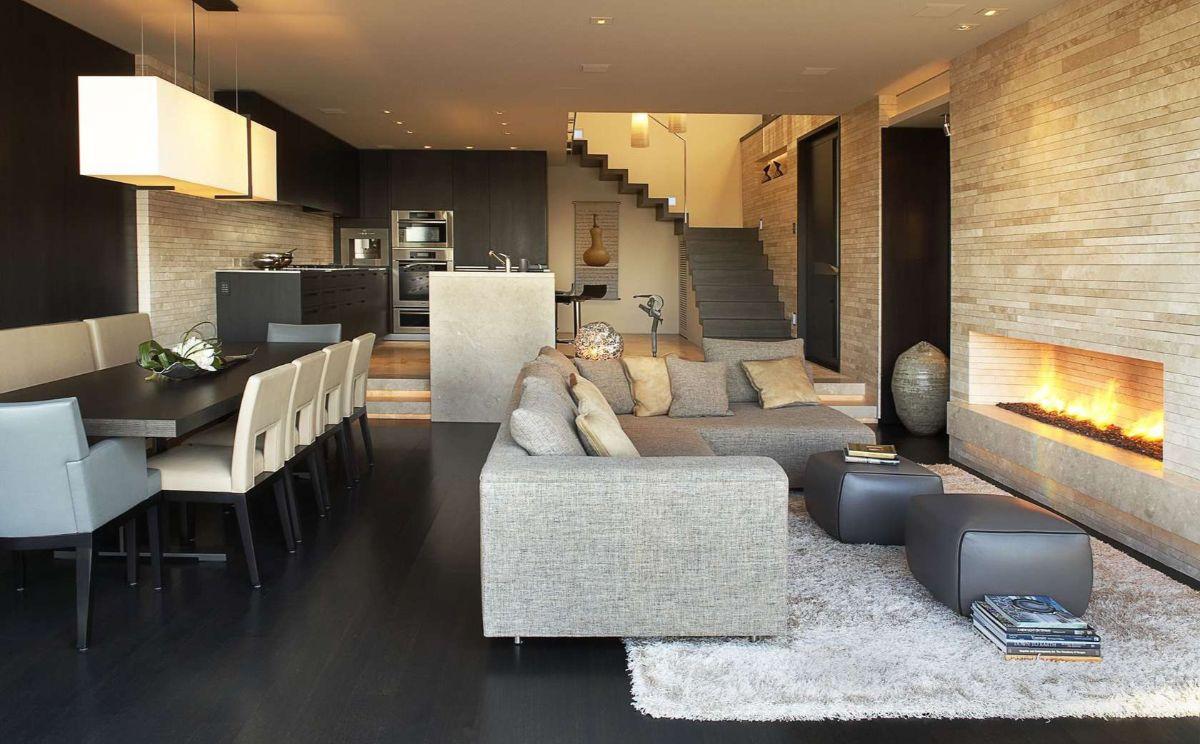кухня гостиная шикарный дизайн интерьера в частном доме