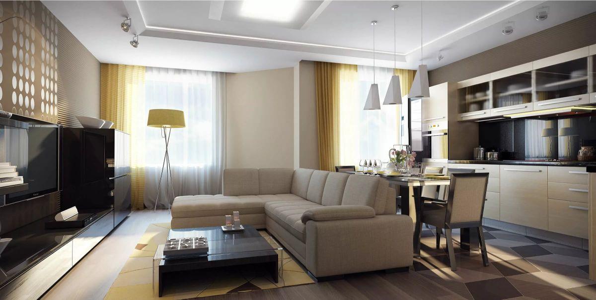 кухня гостиная современный дизайн интерьера