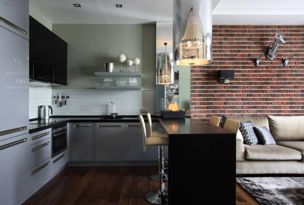 кухня гостиная стильный дизайн интерьера с лофтовыми элементами