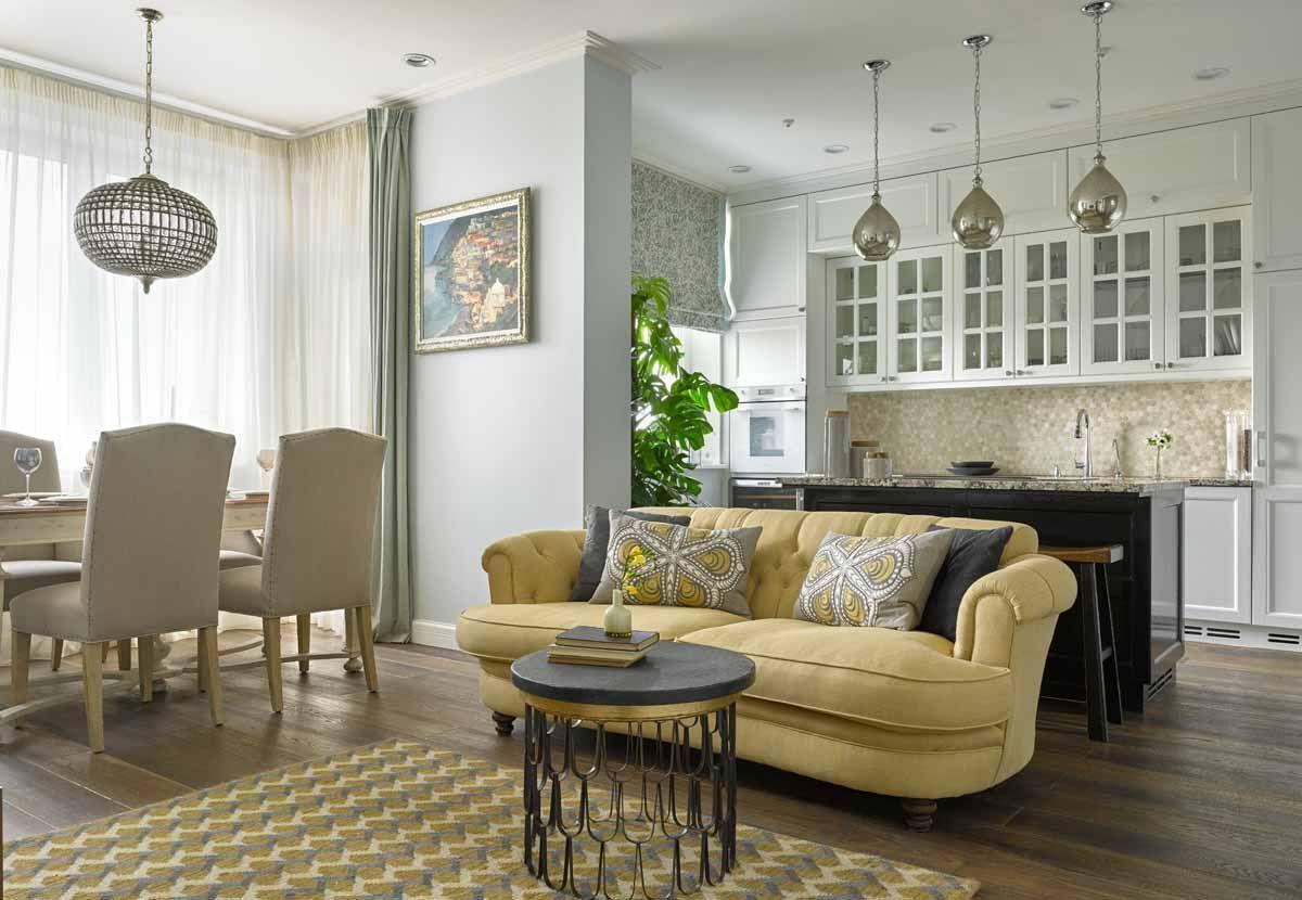 кухня гостиная столовая фото дизайна интерьера классика