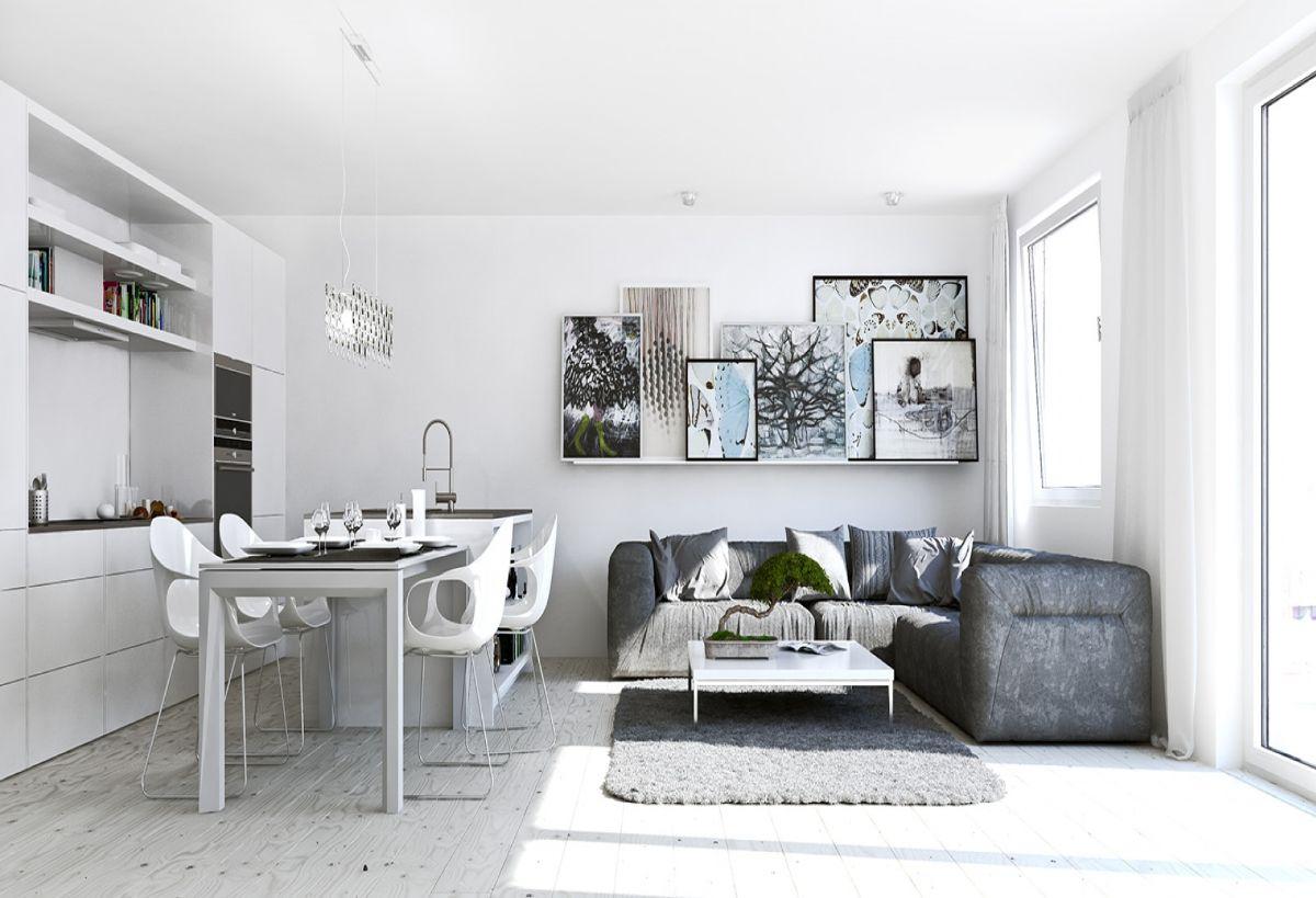 кухня гостиная светлый скандинавский дизайн интерьера