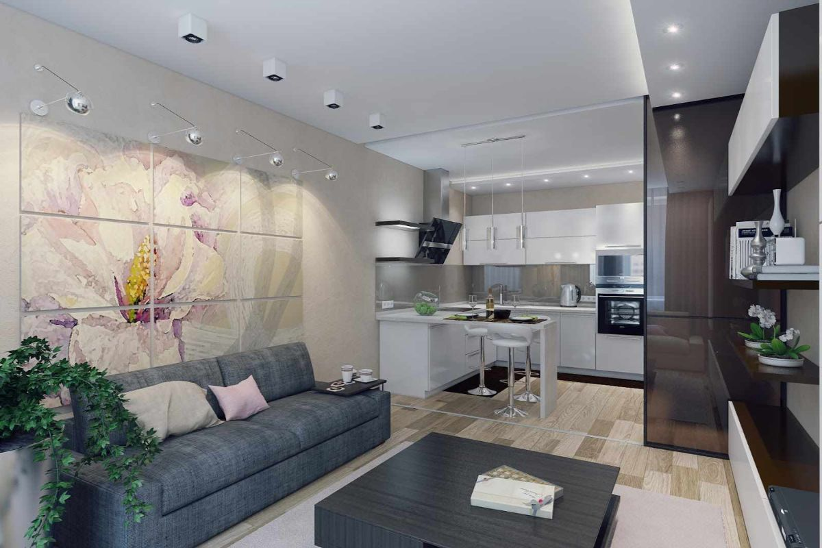 кухня гостиная вытянутой формы дизайн интерьера
