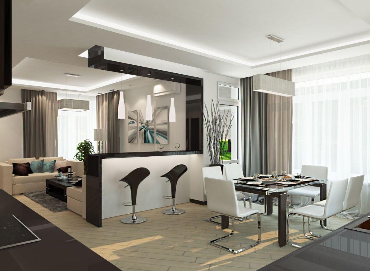 кухня столовая гостиная эффектный дизайн интерьера