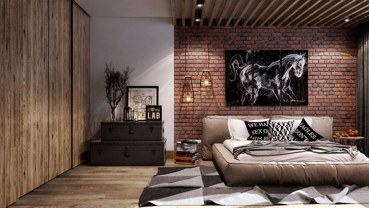 лаконичный дизайн спальни в стиле лофт
