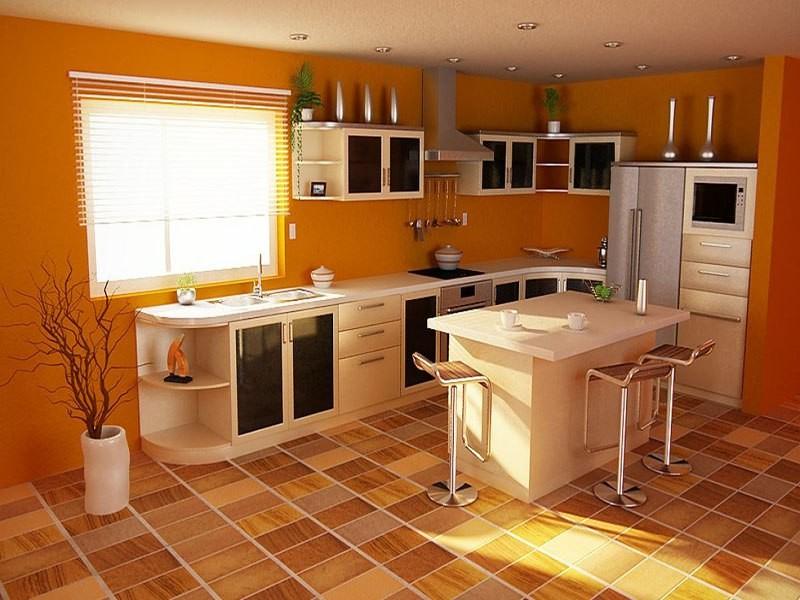 линолеум на современной кухне