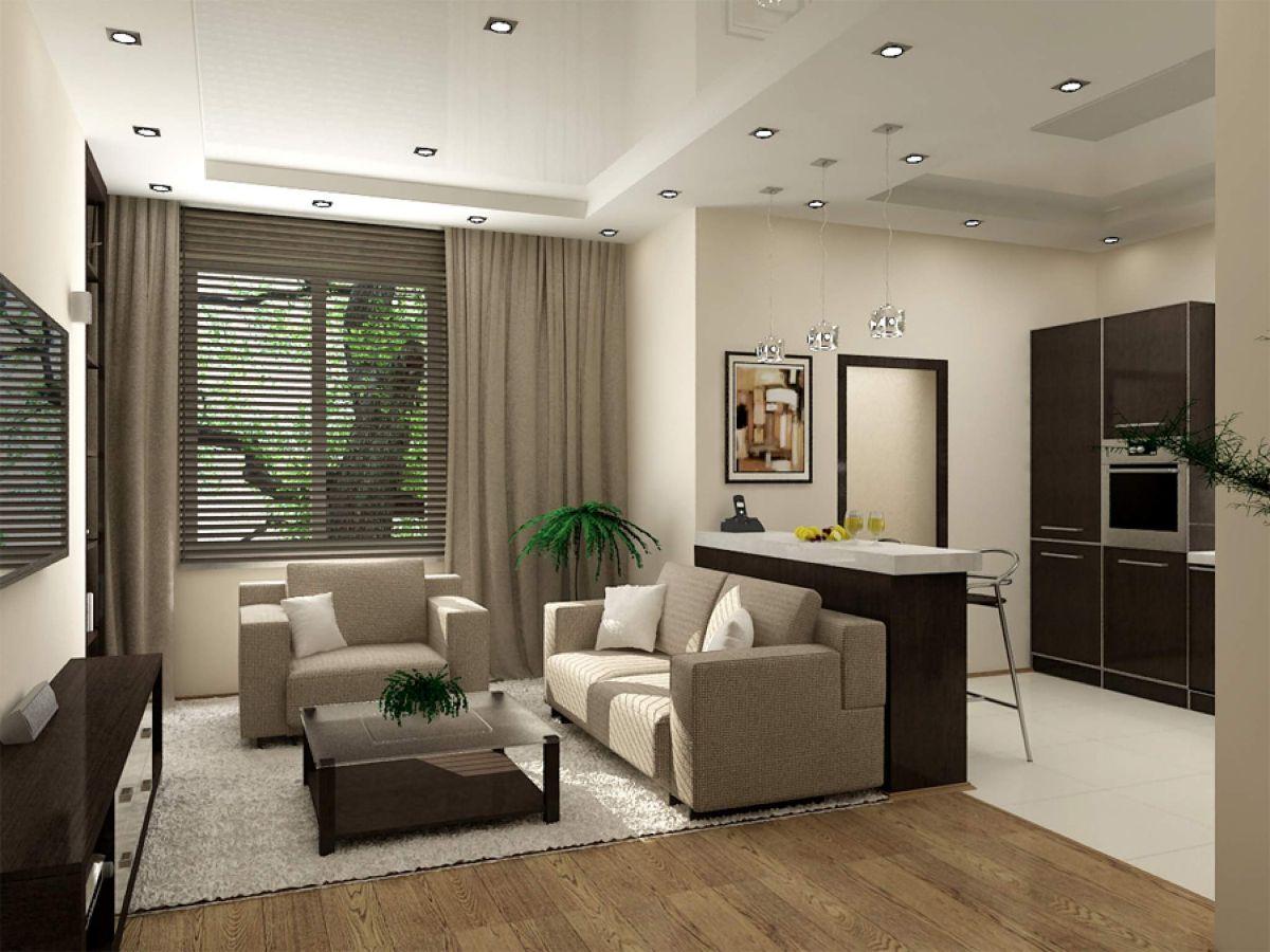 маленькая кухня гостиная современный дизайн интерьера