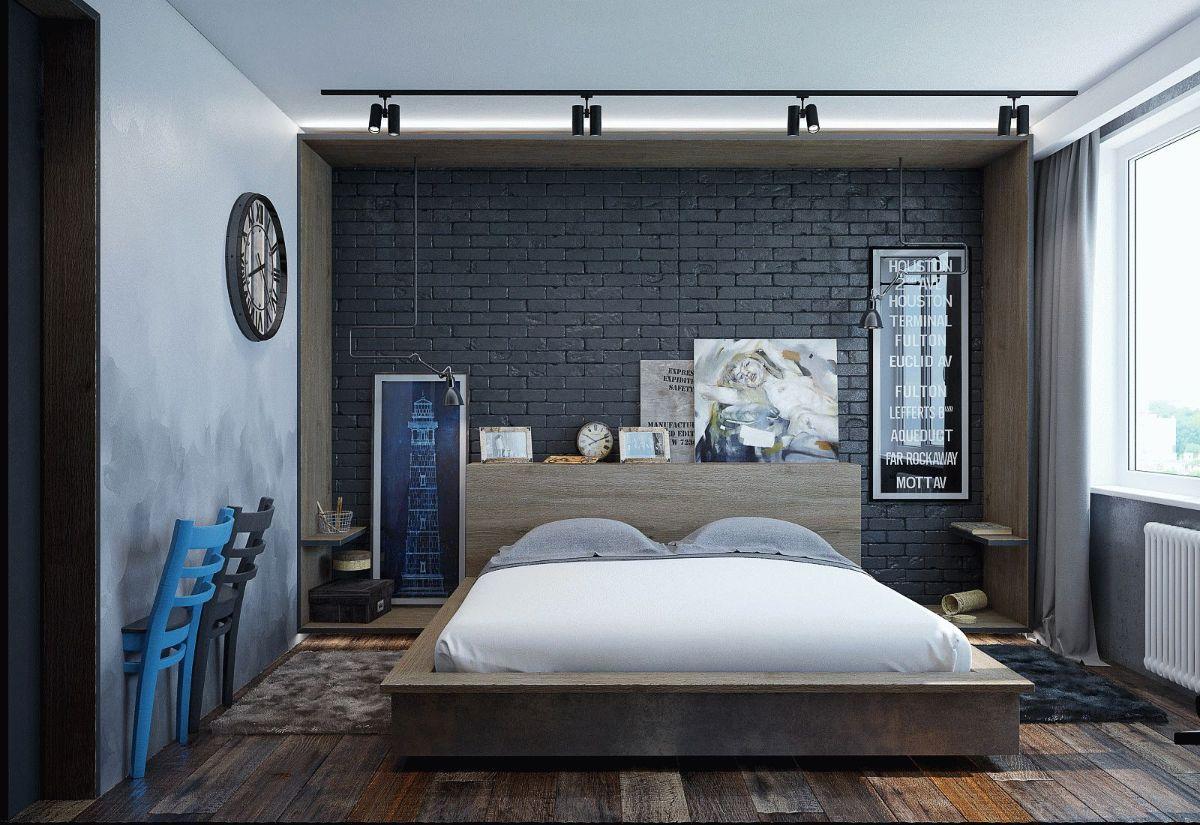 минималистический дизайн спальни в стиле лофт