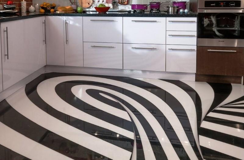 наливной пол на кухне в стиле модерн