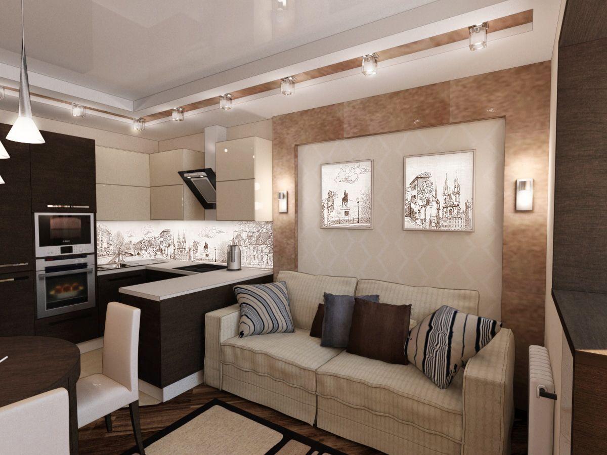 небольшая кухня гостиная дизайн интерьера в шоколадных тонах