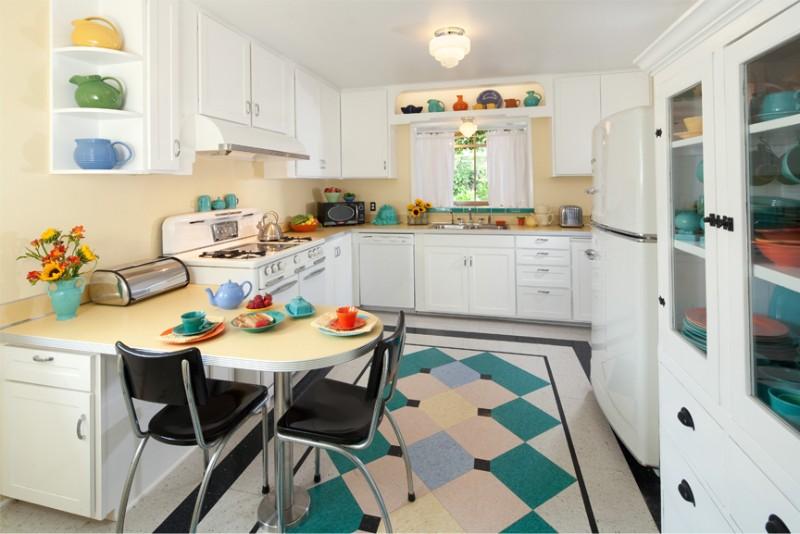 плитка на кухне в стиле ретро