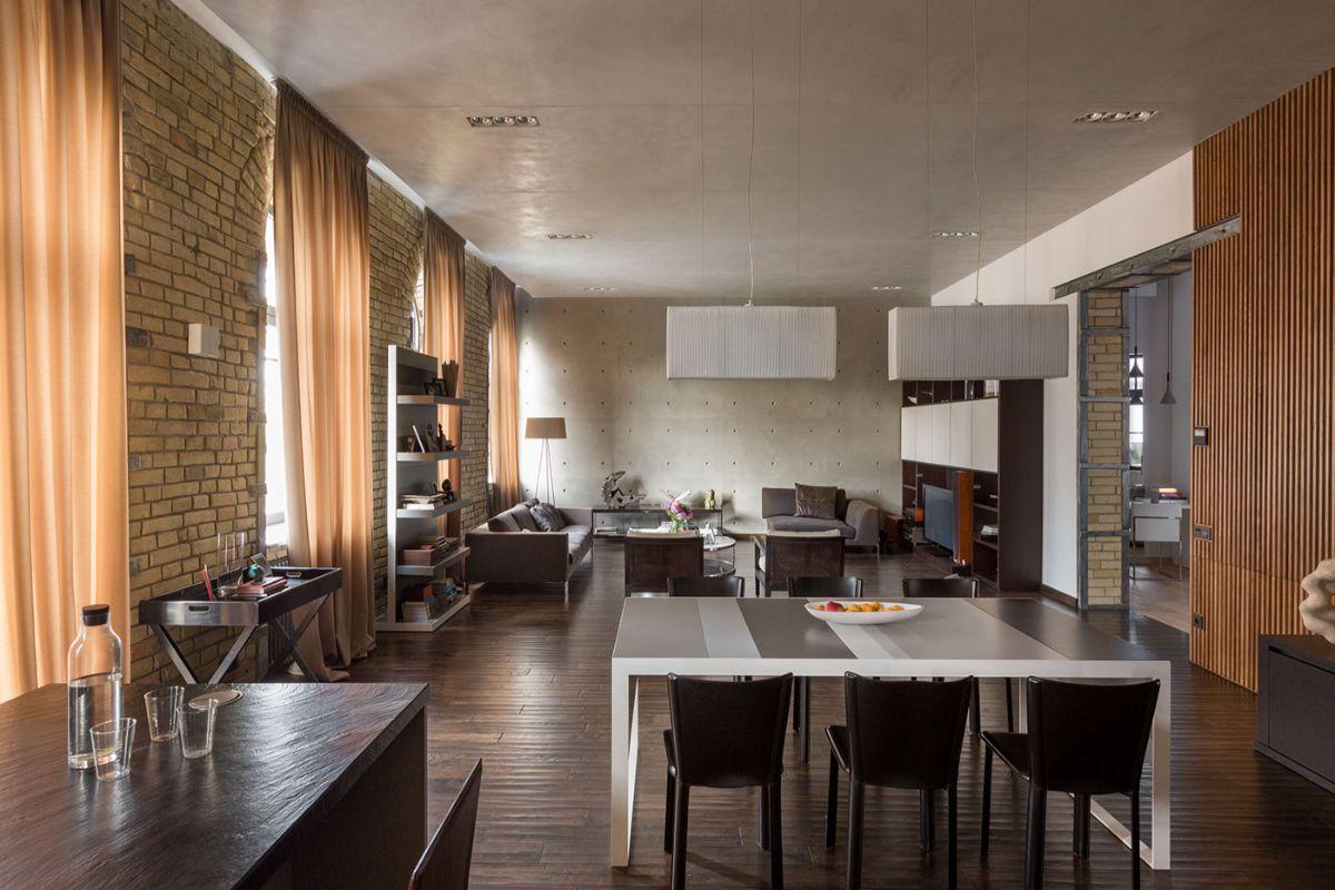 просторный интерьер дизайн в стиле лофт